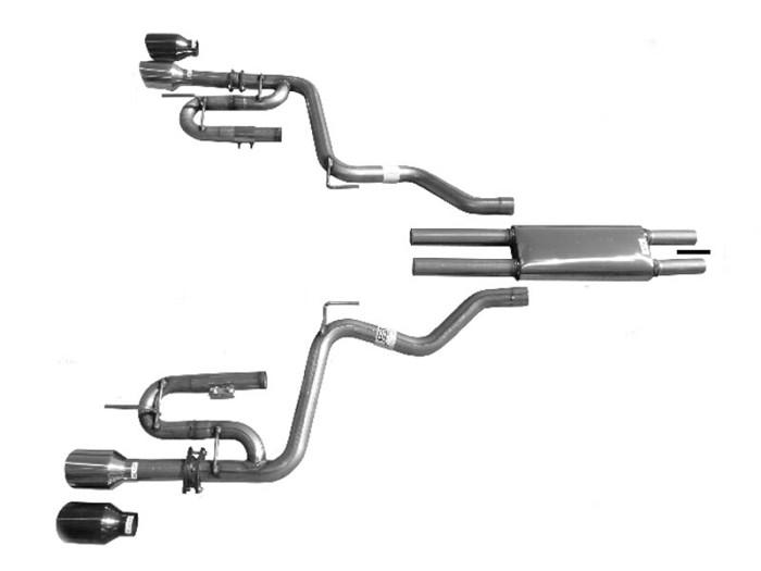 2007 Mustang V6 >> 2015-2019 Mustang V6 Solo Performance Mach-XJ Cat-Back Exhaust System w/ Black Tips 993137BK