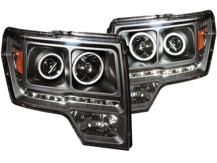 2009-2014 F150 & Raptor ANZO G2 CCFL Halo Projector Headlights (Black)