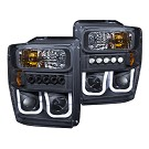 08-10 F250 & F350 ANZO U-Bar Projector Headlights CCFL (Black/Clear) 01