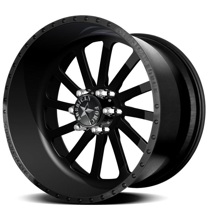 1999-2020 F250 & F350 American Force 20x9 Burnout SS8 Wheel - Flat Black/Machined Windows