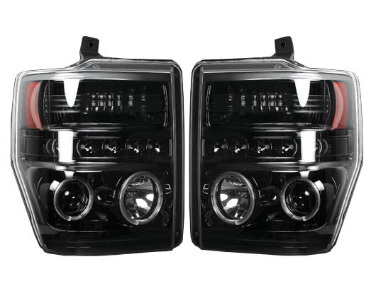 2008-2010 F250 & F350 Recon Projector Headlights (Black LED)