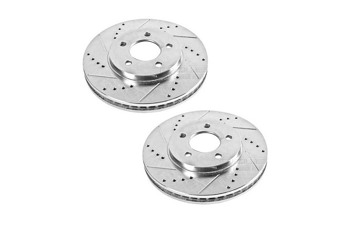 2005-2014 Mustang Power Stop Drilled & Slotted Rear Rotors (Excludes 13-14 GT500)
