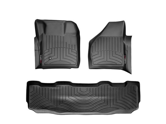 2008-2010 F250 & F350 SuperCrew WeatherTech Digital Fit Front & Rear Floor Mats (Black)